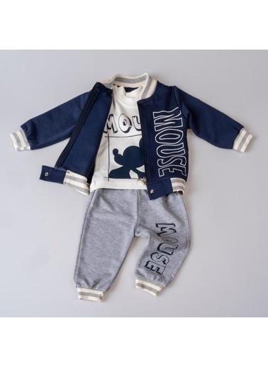 POKY Baskılı Şık Tasarım Yeni Sezon Erkek Bebek Çocuk 3'Lü Takım-13209 Lacivert
